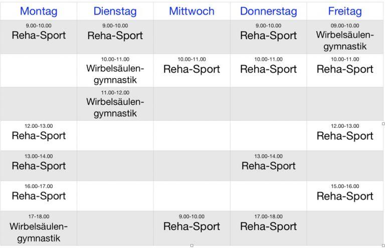 Reha-Sport Kursplan